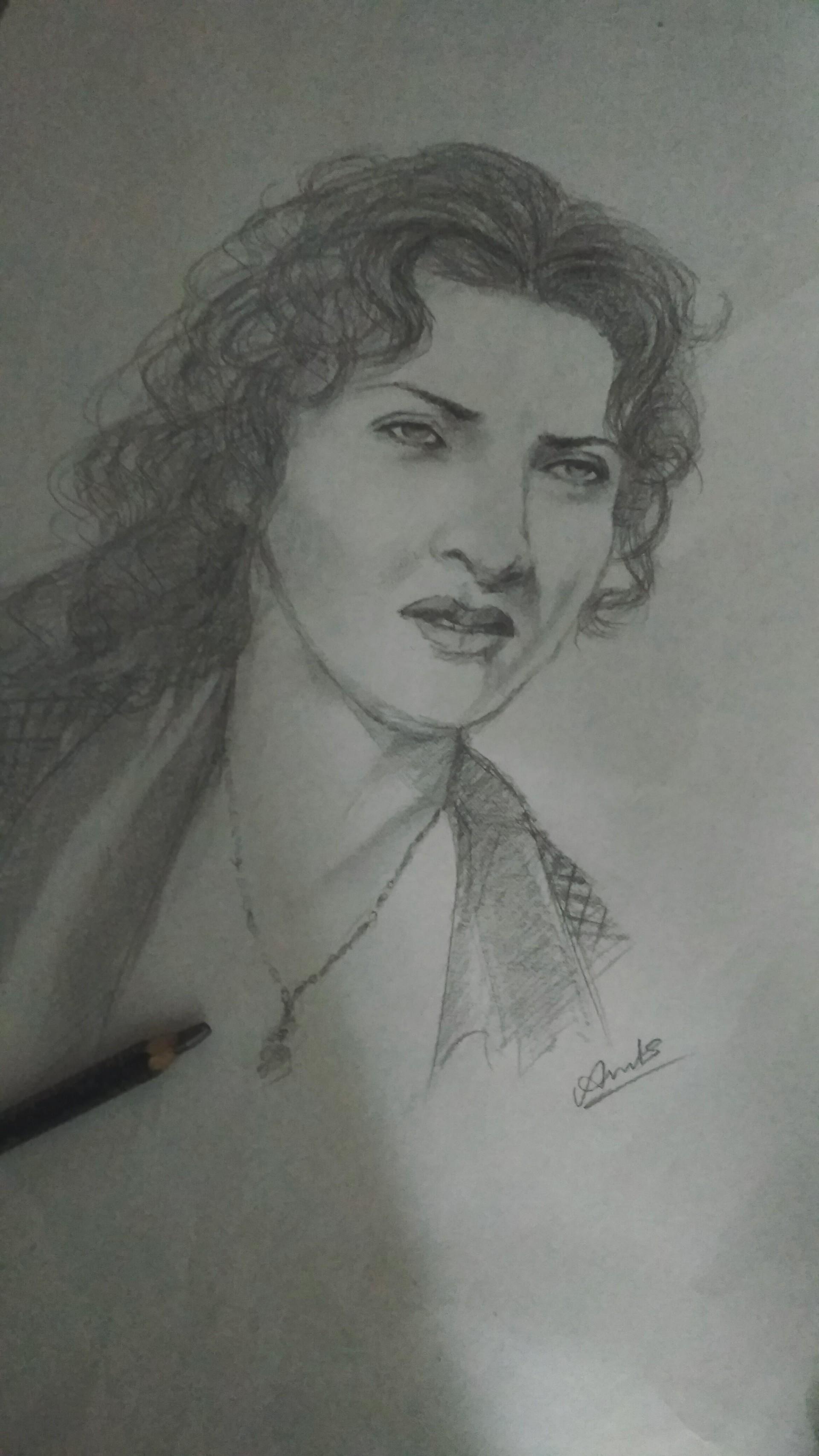 Portrait drawing of a beautiful woman