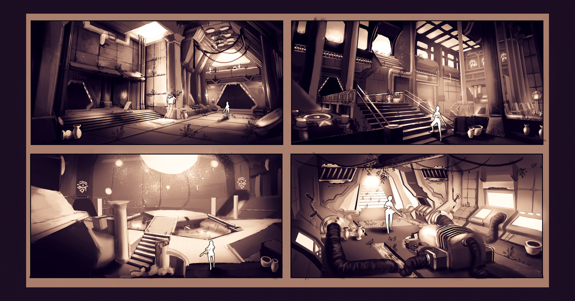 "Environment concepts. The vision for the environment was ""the inside of a pyramid infected by a futuristic AI"". My task was to find a good balance between sci-fi and egyptian elements and explore different prop ideas. Each was done in about 2.5 hours."