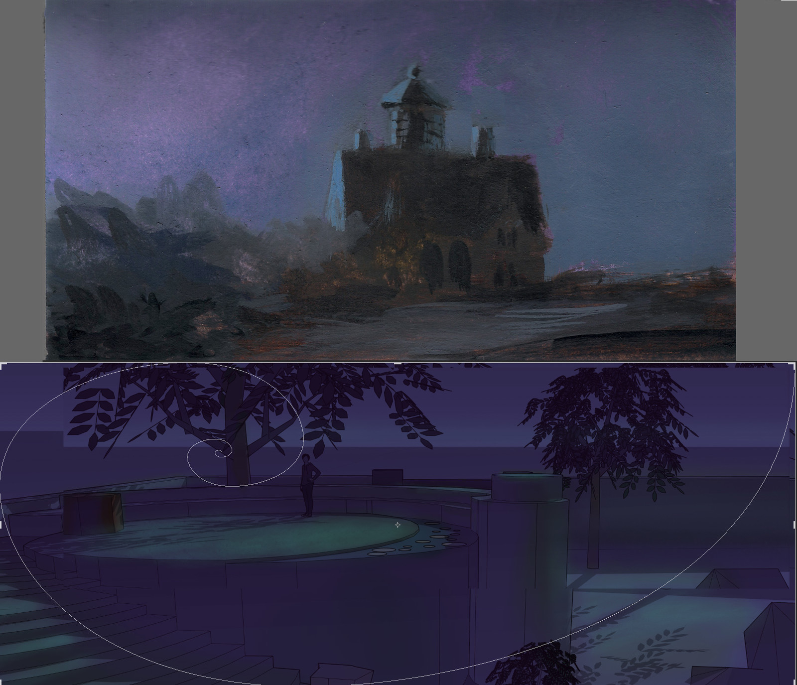 I built a quick, incredibly rough model and color corrected a screen shot of it in PS modeled after a study I did in watercolor and gouache of an old lighthouse in RI.