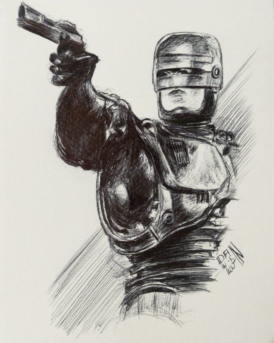March Of Robots 10 - Robocop (1987). Bic Pen.