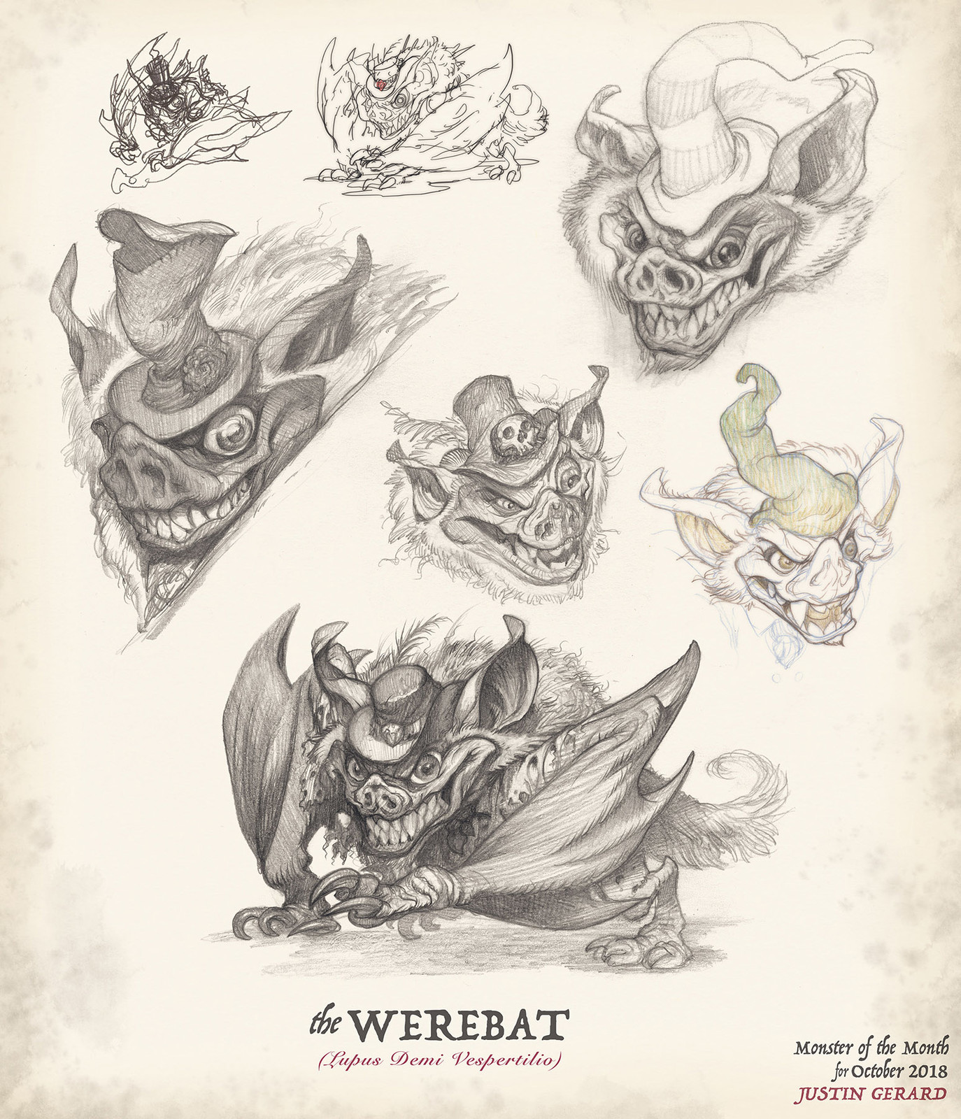 Rough drawings and conceptual designs for the Werebat