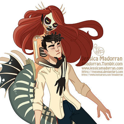 Jessica madorran character design drawlloween little mermaid 2018 artstation