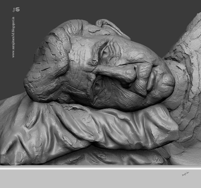 """Wish to share my free time speed Digital sculpt study. ...""""In Thoughts """"."""