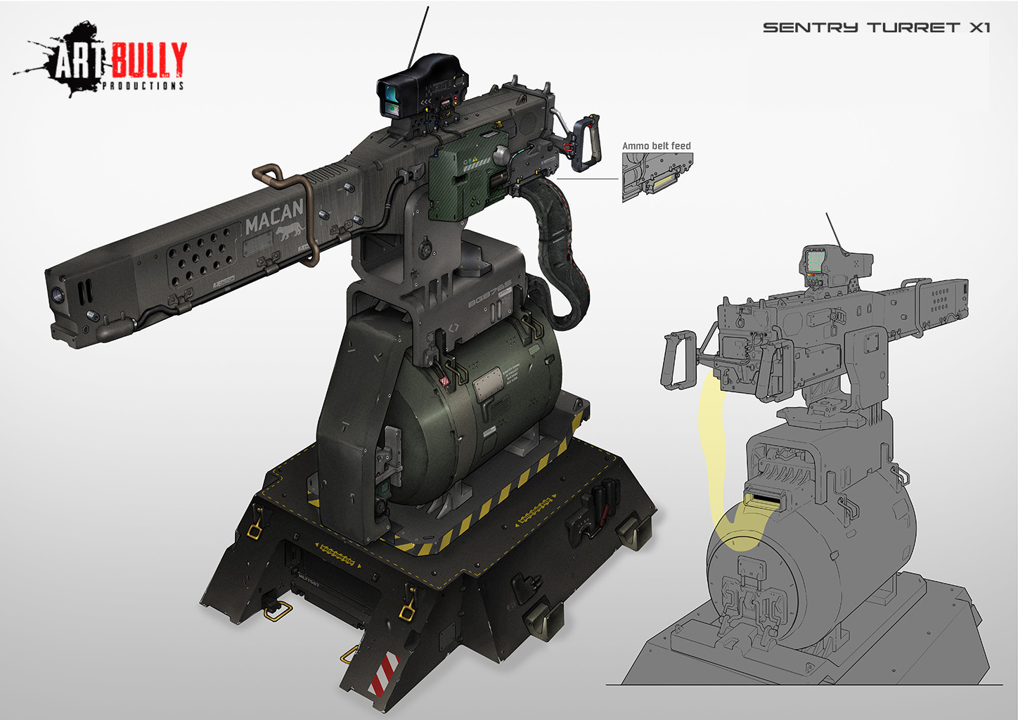 Patrick nuckels art bully productions sentry turret x1 concept art