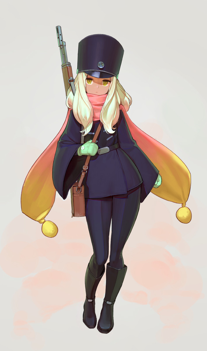 Sniper (Comes from a southern country, she wears gloves and a scarf because the weather in her current country is too cold for her.
