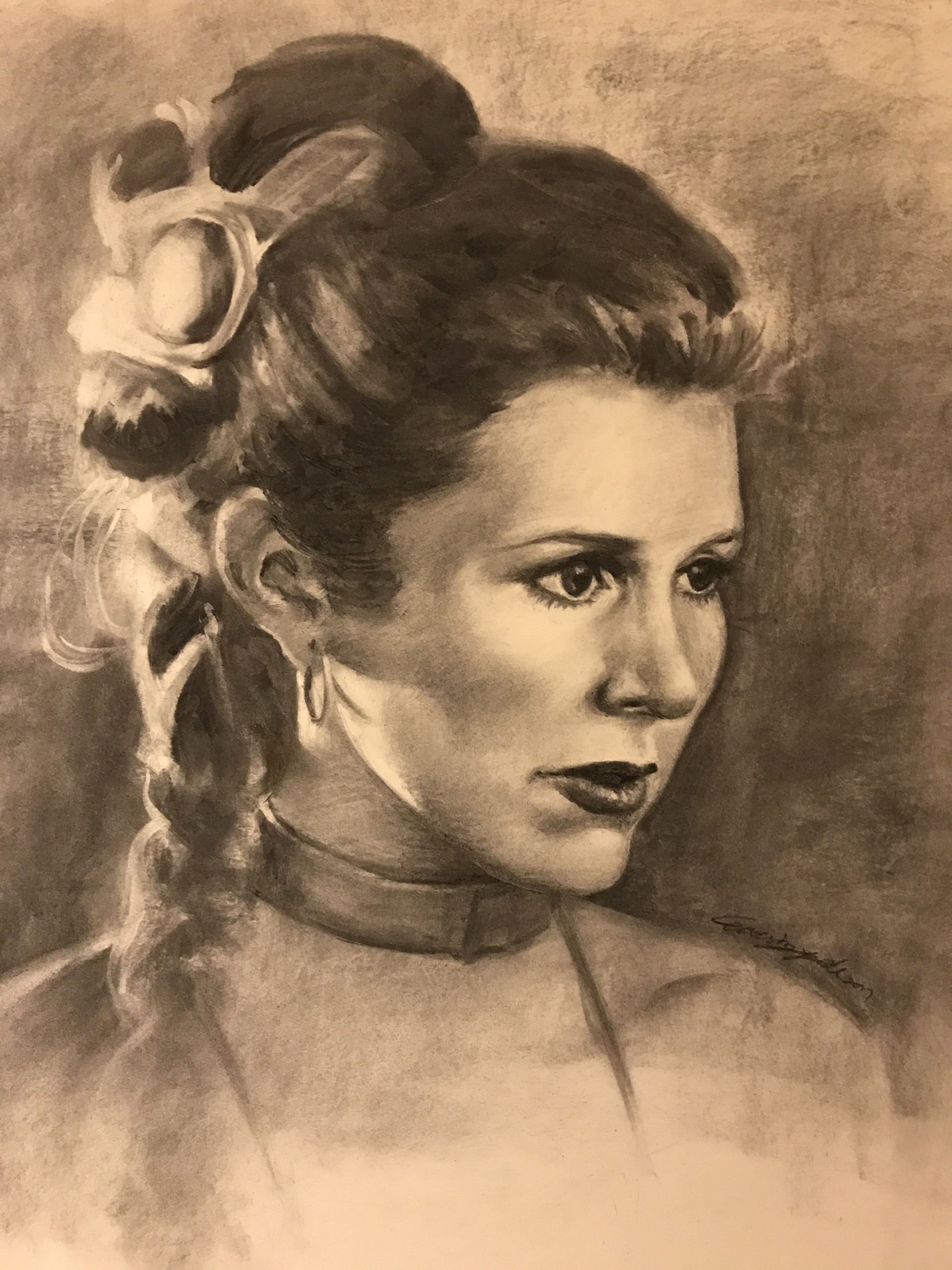 princess leia buns drawing