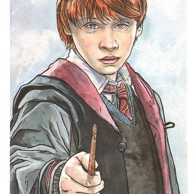 Scott christian sava ron weasley watercolor by ssava d4wwd8l