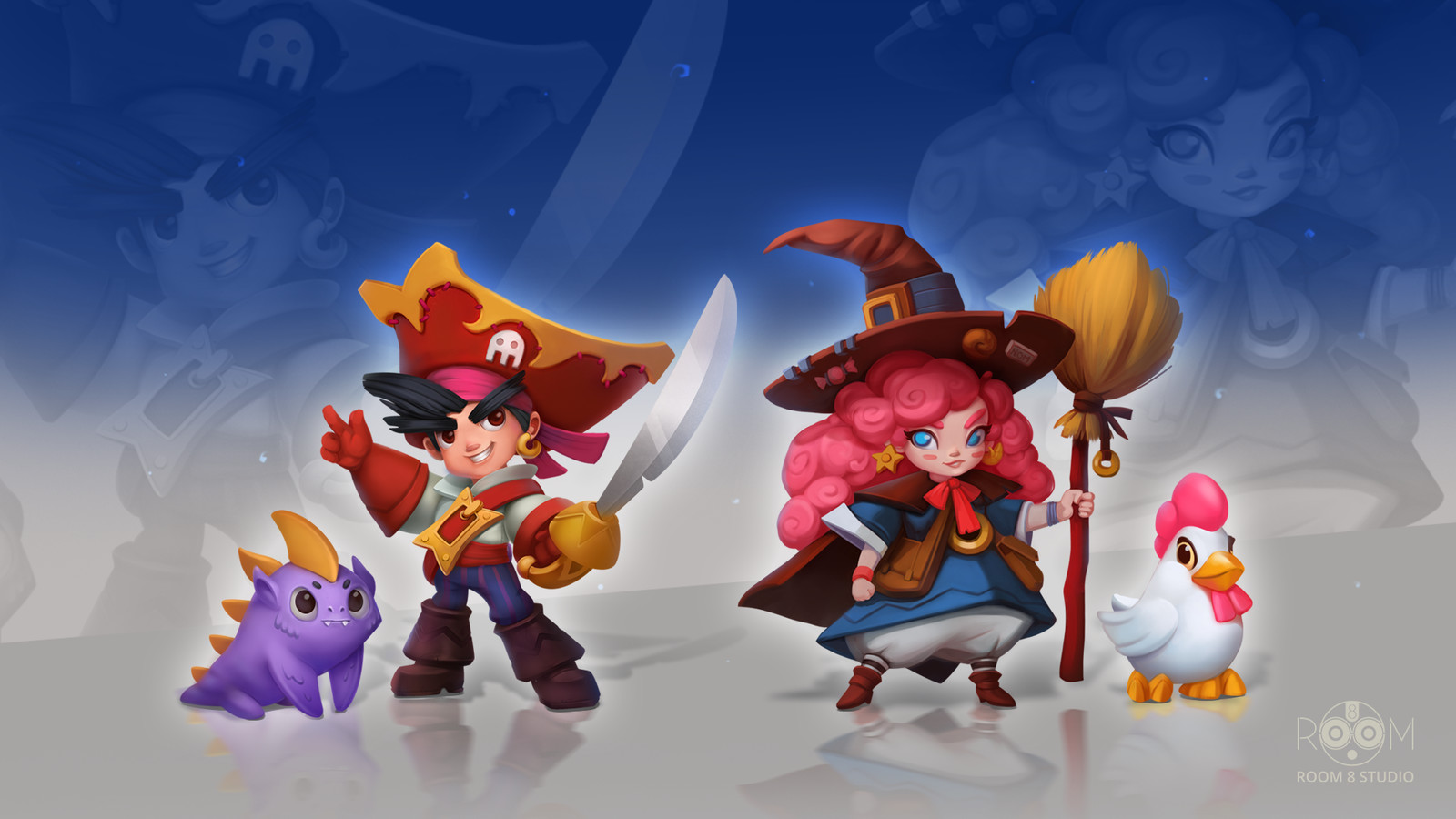 Concept Art of a Cartoony Pirate, Witch and Dangerous Rabbit