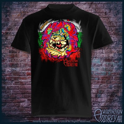 Andrey kamenov badass lion t shirt bg