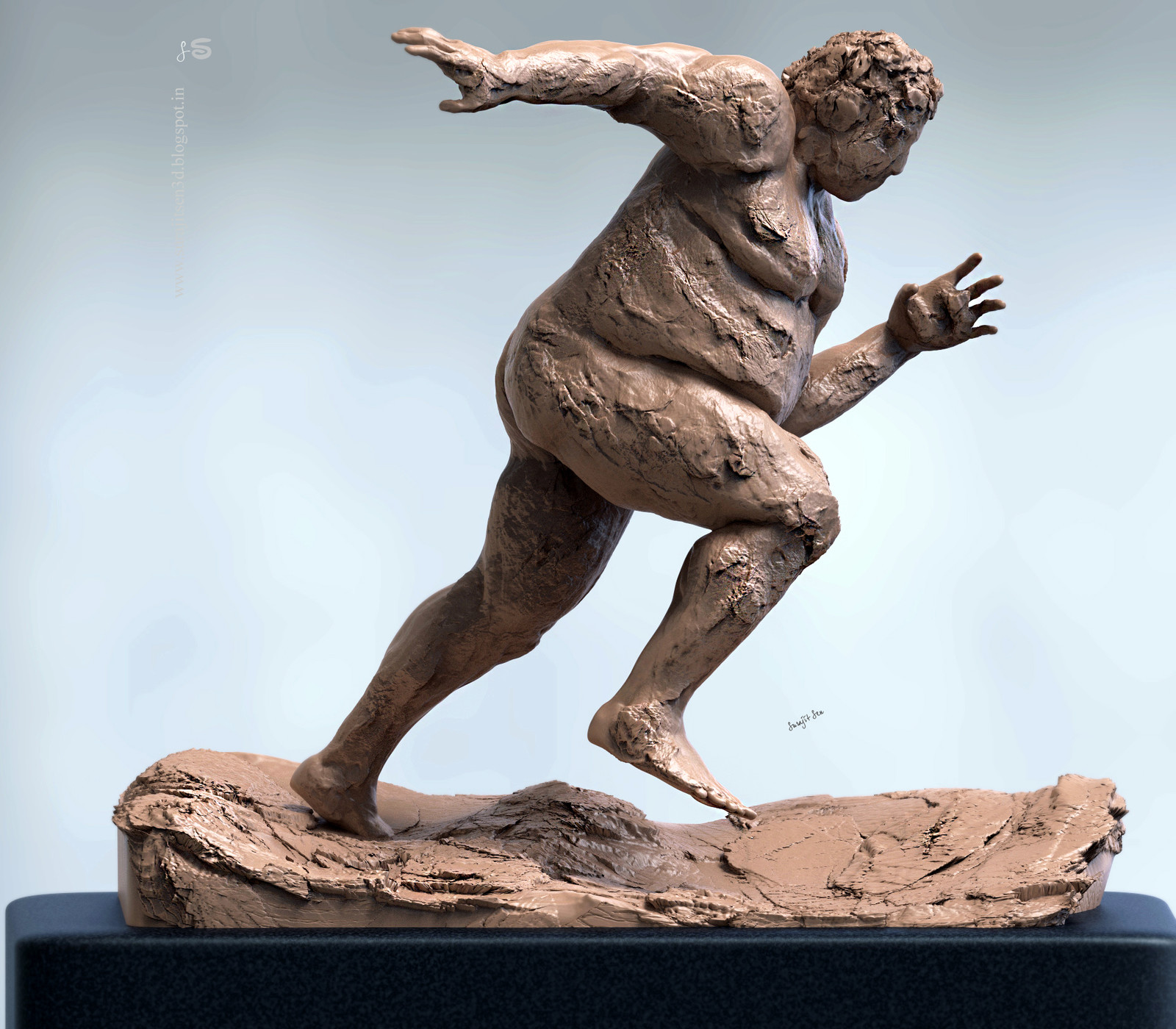 """#doodle #quicksculpt #study """"Running Fat man"""".....tried to make a form of my thoughts. Wish to share my quick digital sculpt."""