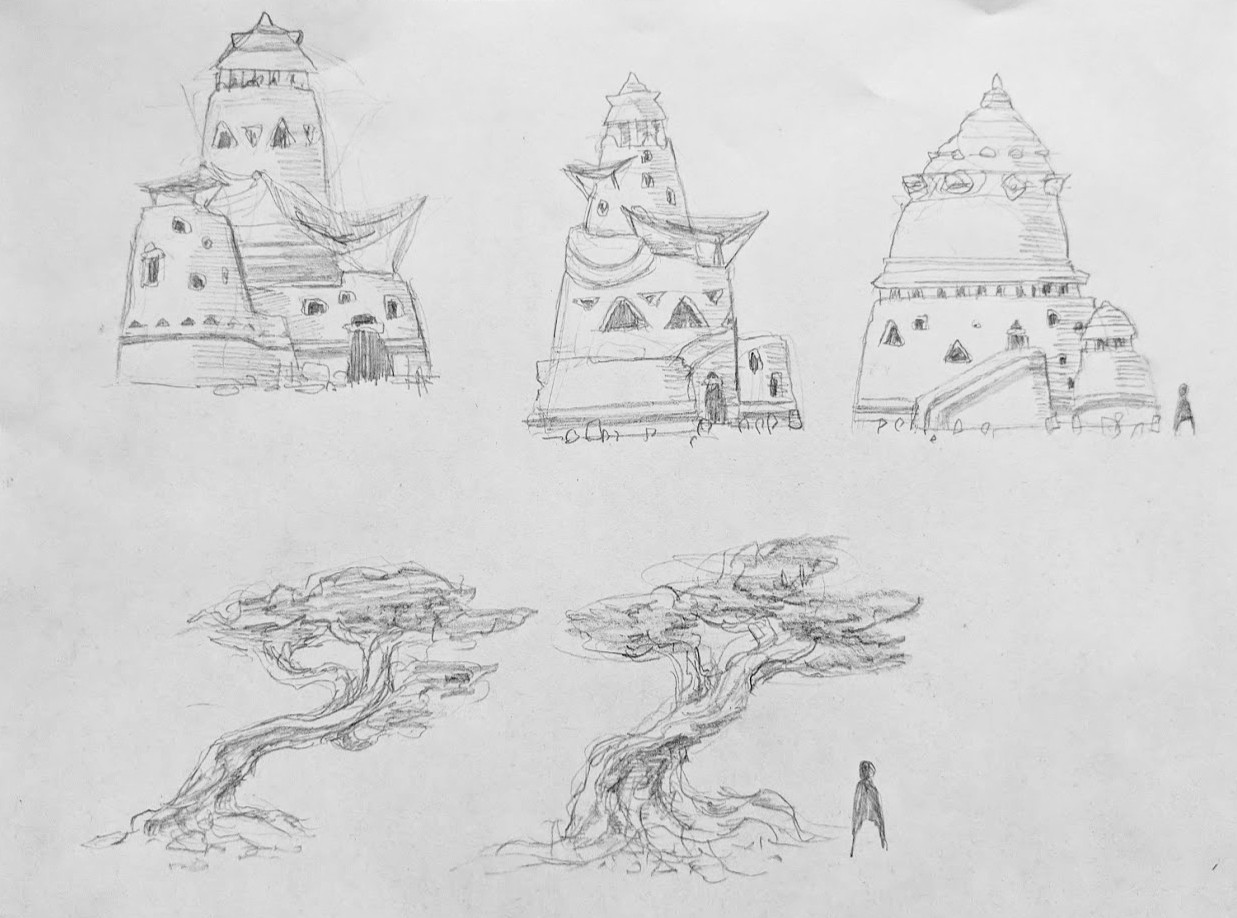 Some of the sketches I did for architecture and trees. The building designs in this drawing were simplified for the final environment.