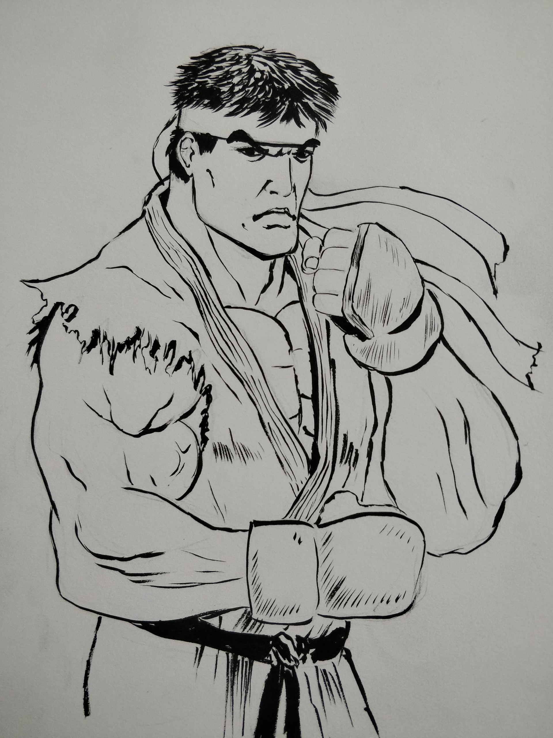 Artstation Street Fighter Ryu Inktober Doug Mah