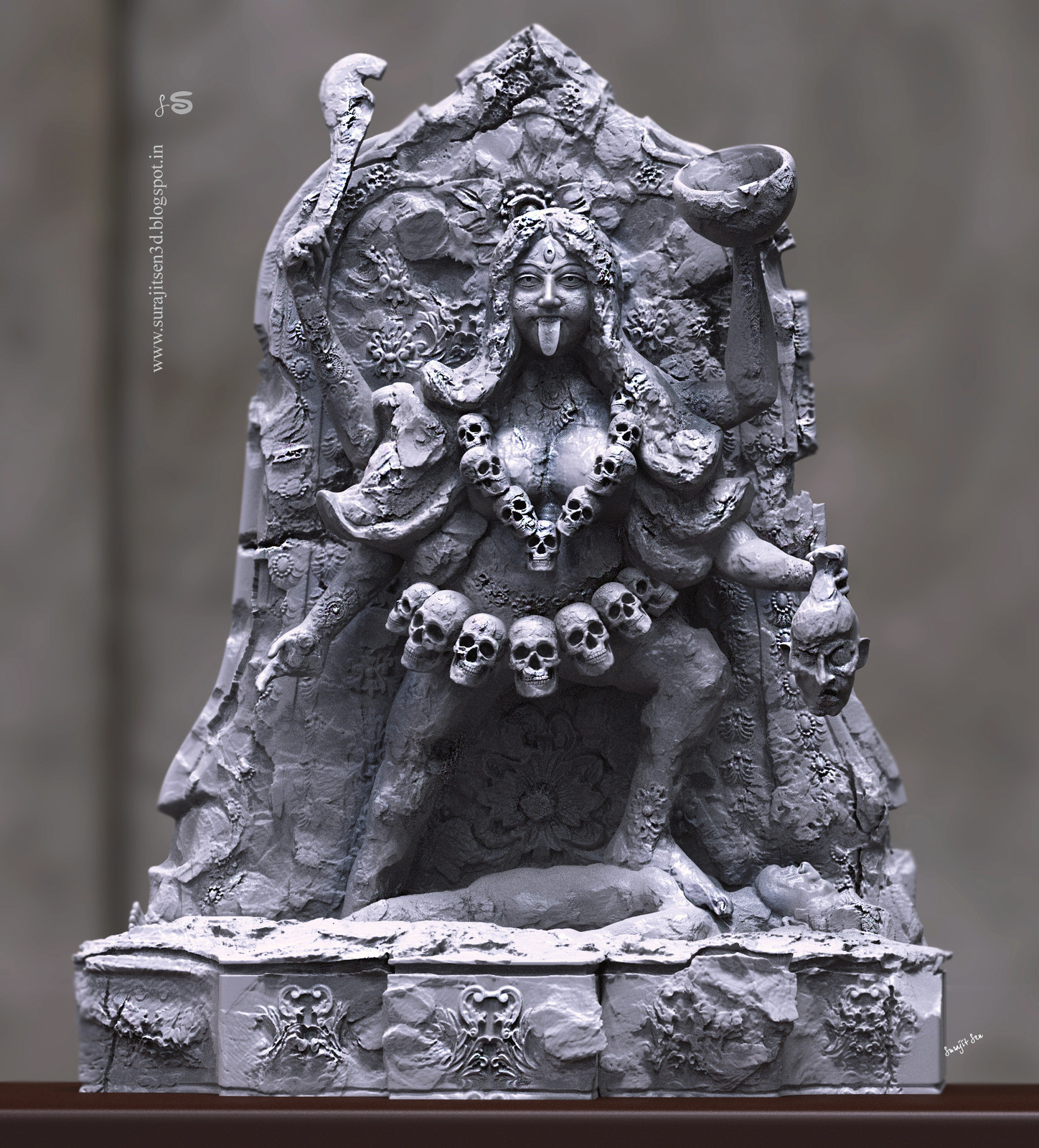 Here I tried to create the form of Goddess Kali, inspired from the ancient Indian relics. I like the hidden art in damaged idols and try to sculpt it digitally.