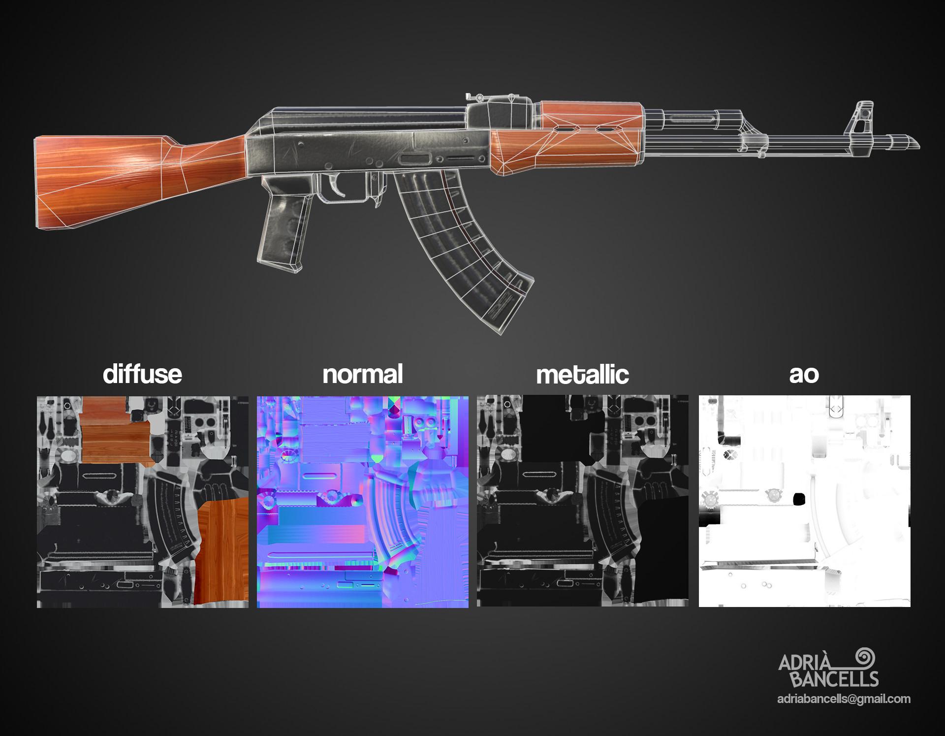 AK-47 Assault rifle Triangles: 2.1k  Textures: 1024