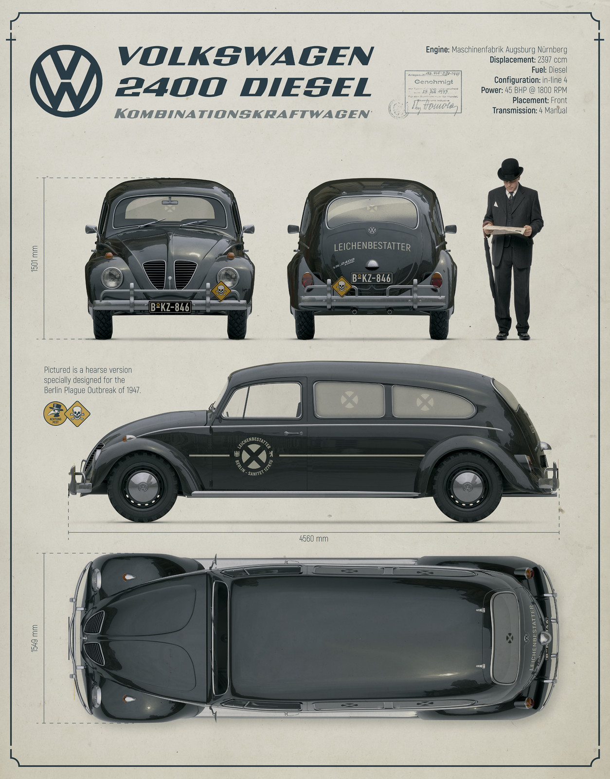 VW Type 1 2400 Diesel, specifications