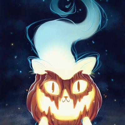 Ghost pumpkin cat!