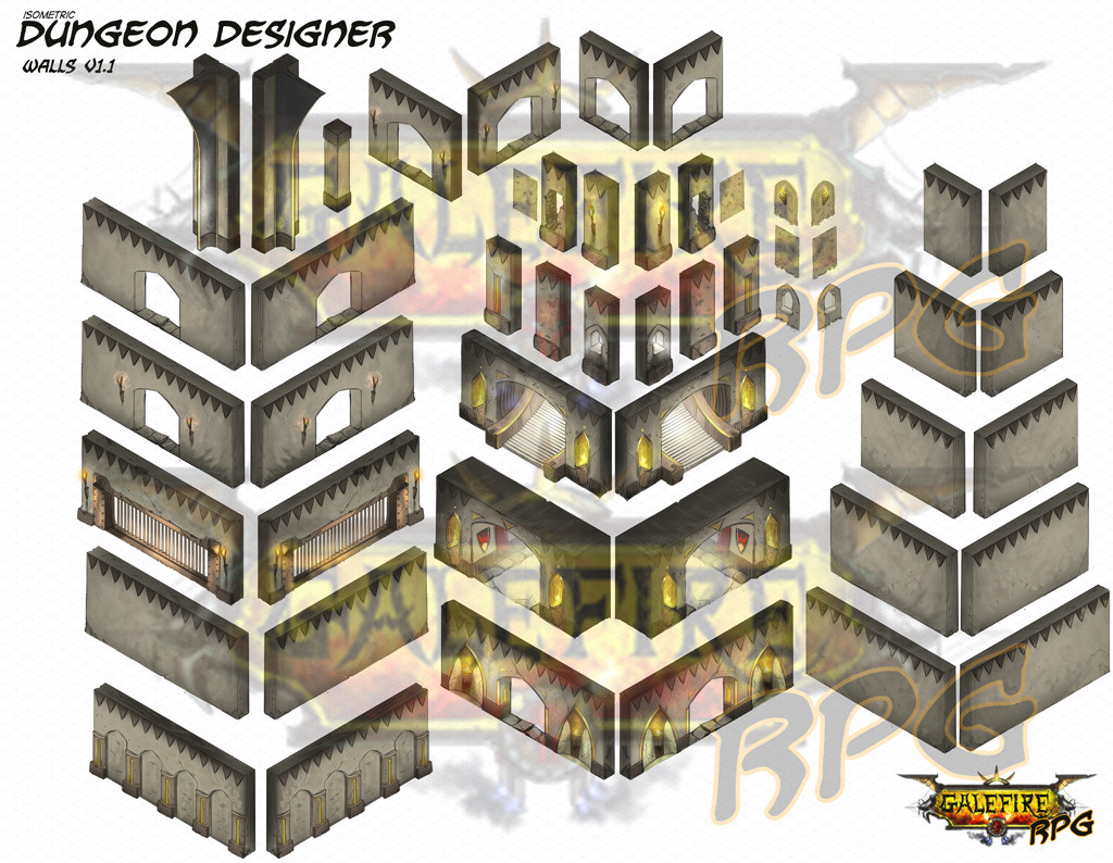 isometric dungeon walls