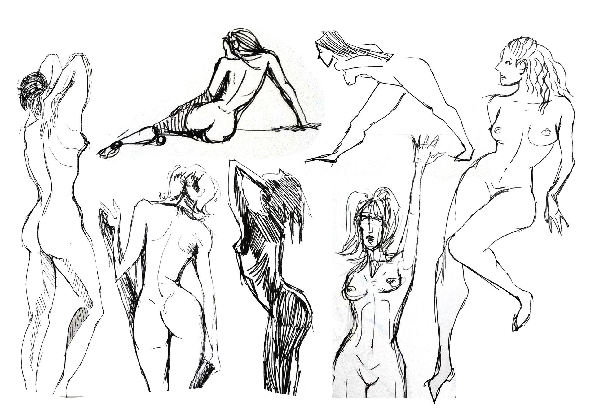Artstation Female Life Drawing Model Study Marker Pen Chess Pearson