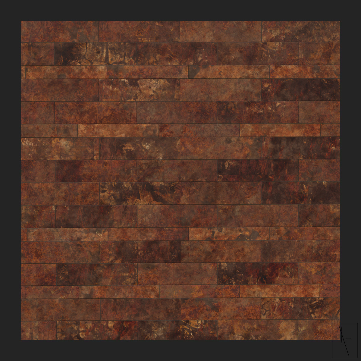 Niels fechtel bronze bathroom tiles straight on image