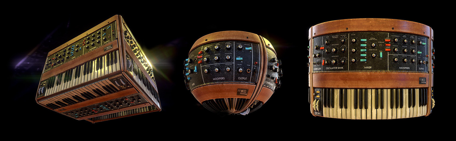 minimoog material on cube, sphere and cylinder meshes.