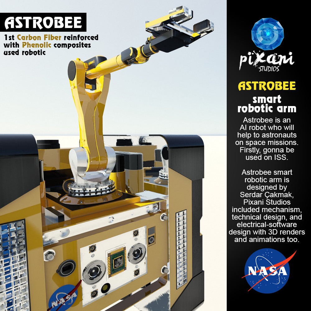NASA Astrobee SRA Project Astrobee is an AI robot who will help to astronauts on space missions. Firstly, gonna be used on ISS.   Astrobee Smart Robotic Arm is designed by Serdar Çakmak  Pixani