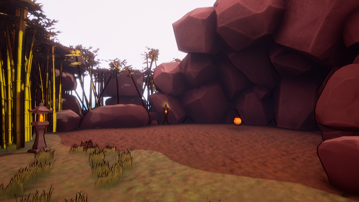 Lantern sitting alone in the cave section of the level.