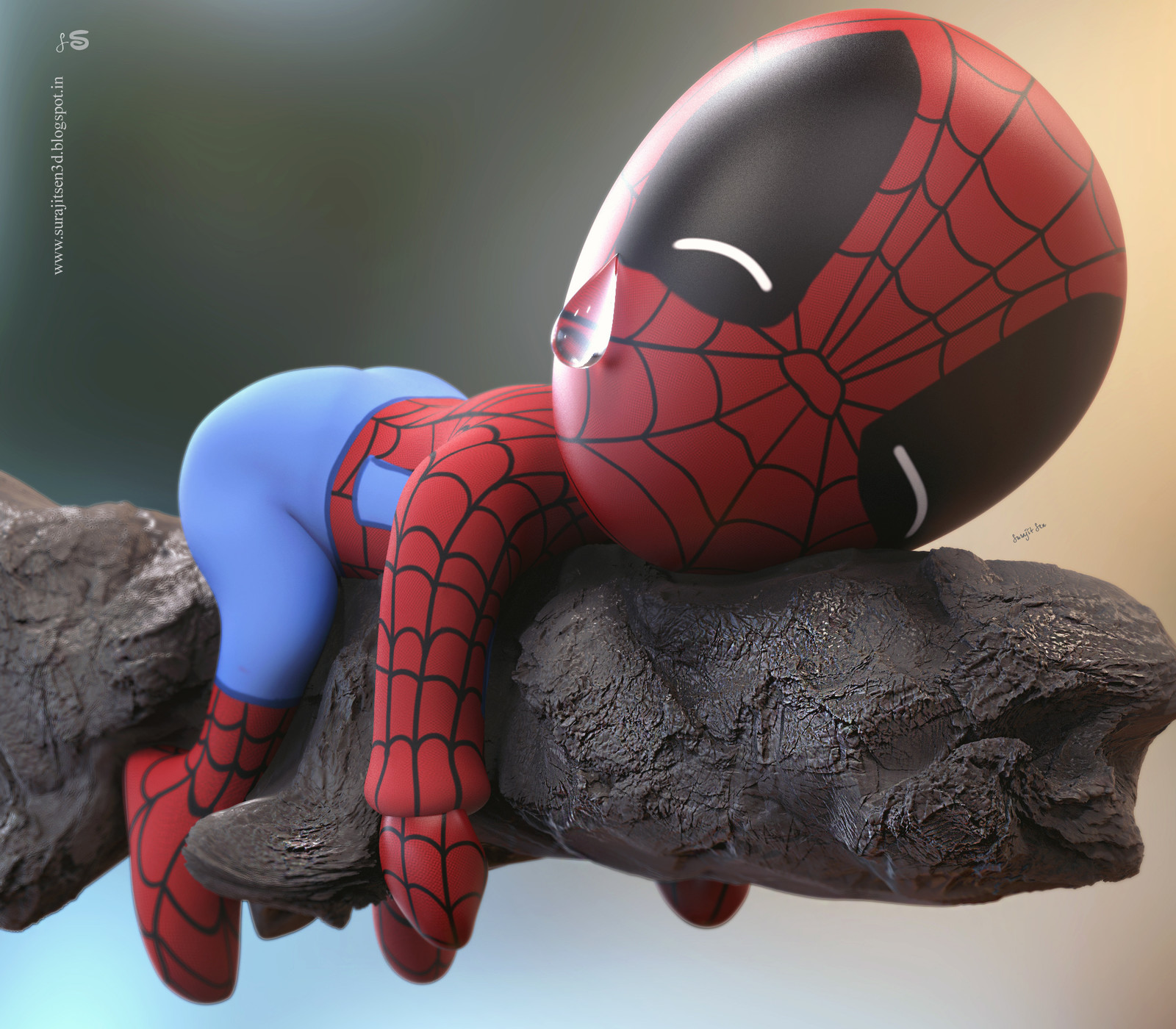 """I dedicate my creation """"Sad Spidey""""... to one and only Sir Stan Lee .... We will really miss the Legend of Marvel Comics.  RIP Stan Lee."""