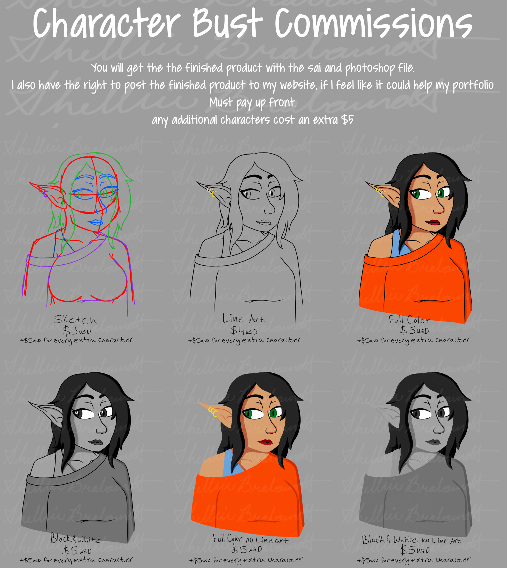 Artstation Character Art Bust Commissions Price Sheet Shelbie