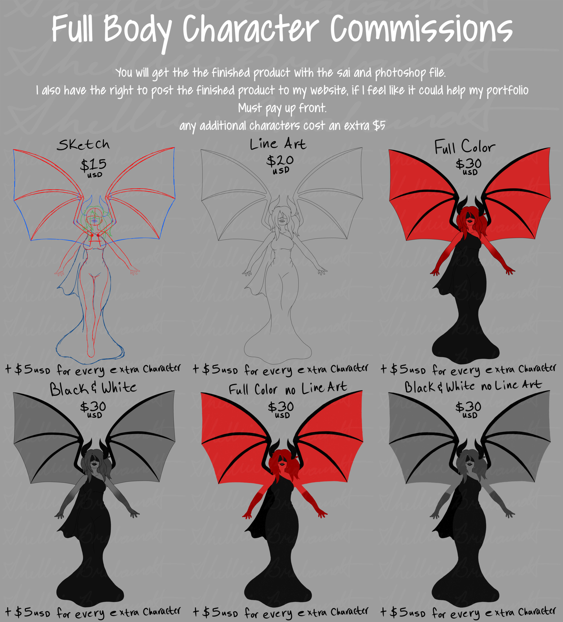 Character Art Full Body Commission Price Sheet You Will Get The Finished
