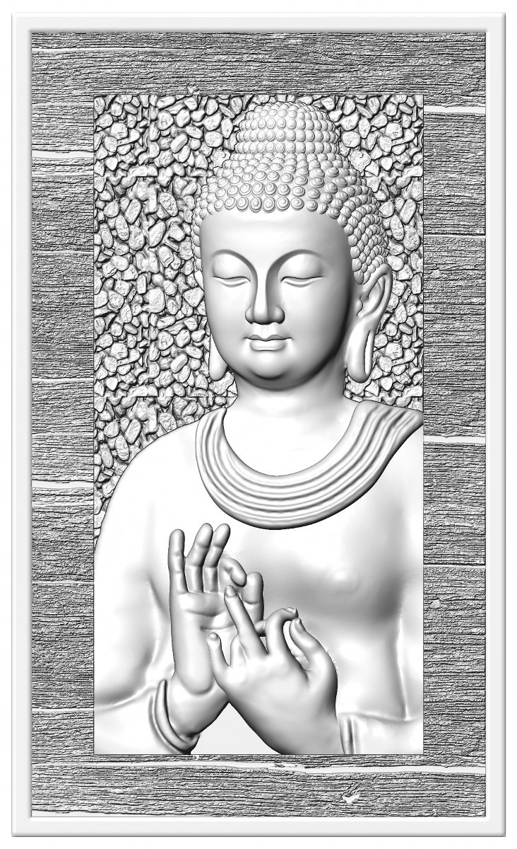 this is a 3d (2.5d) design  now i give some reference images post here    buddha design image 1 this is white shadow image  made by : Keshwa Art...& group