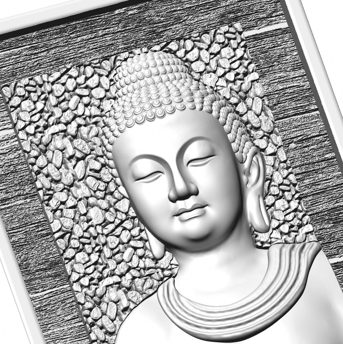 this is a 3d (2.5d) design  now i give some reference images post here    buddha design image 3 this is white shadow image  made by : Keshwa Art...& group