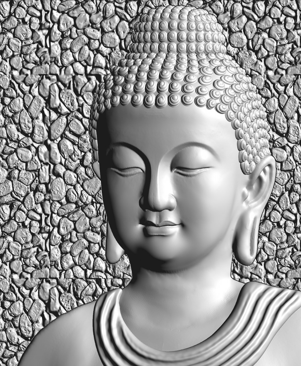 this is a 3d (2.5d) design  now i give some reference images post here    buddha design image 7 this is white shadow image  made by : Keshwa Art...& group