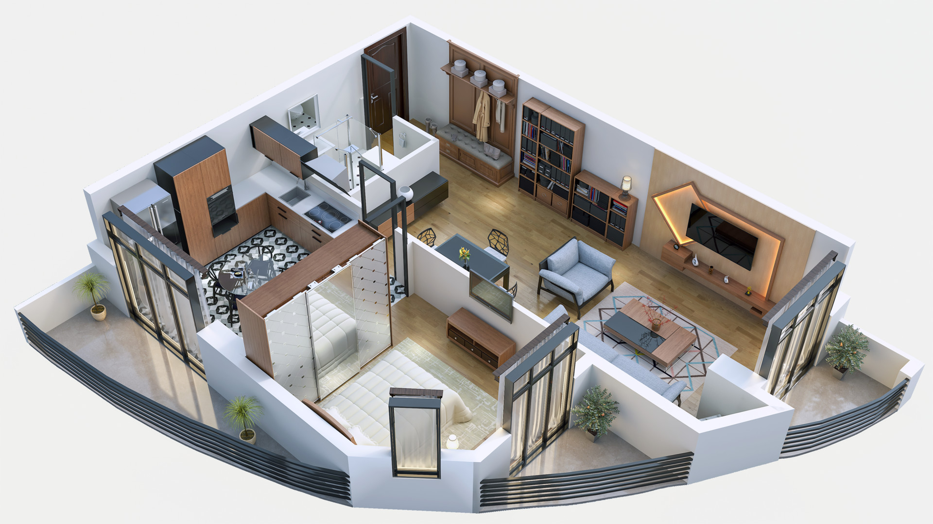 Artstation Interior Designs From The Top View Isometric