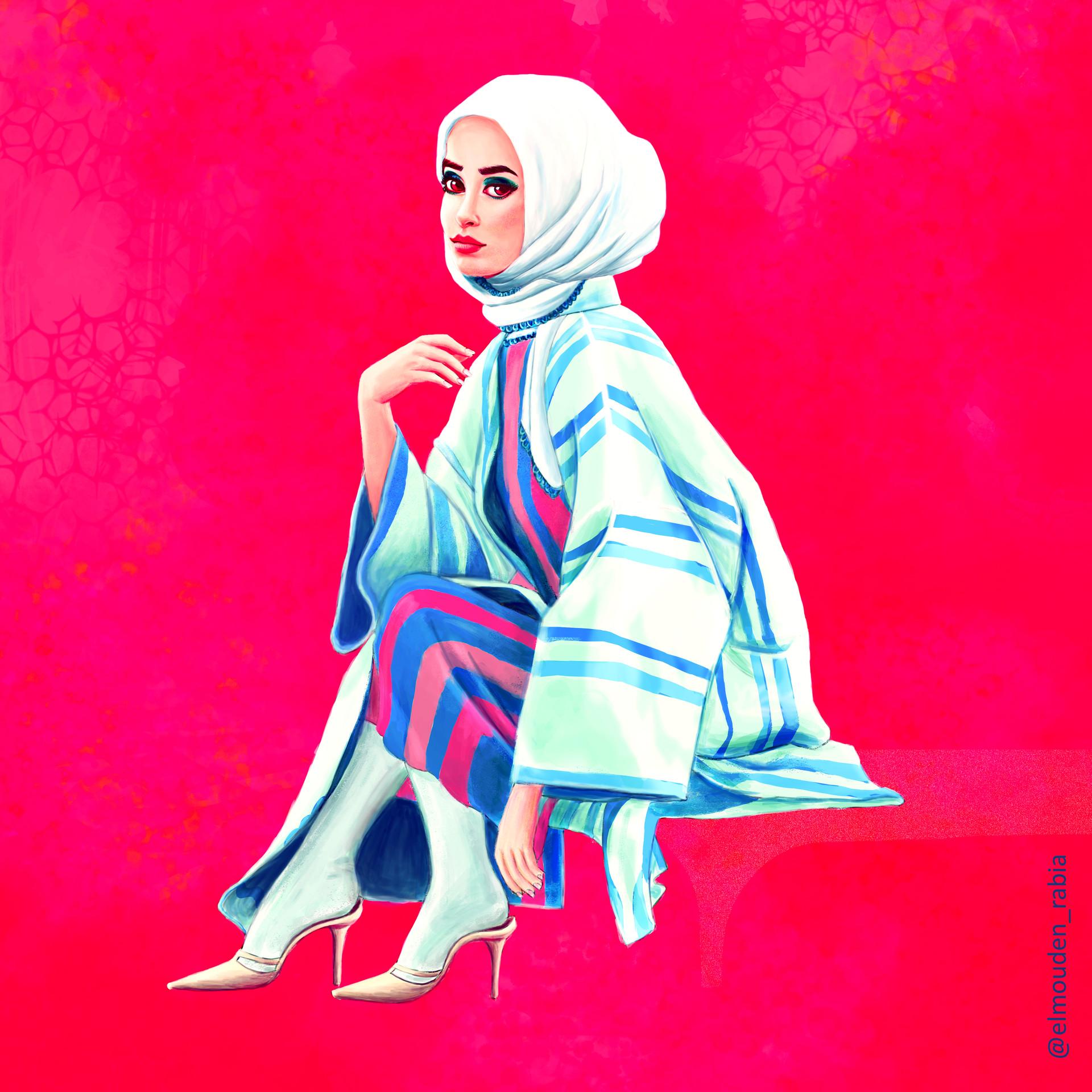 Sitting hijabi fashionista
