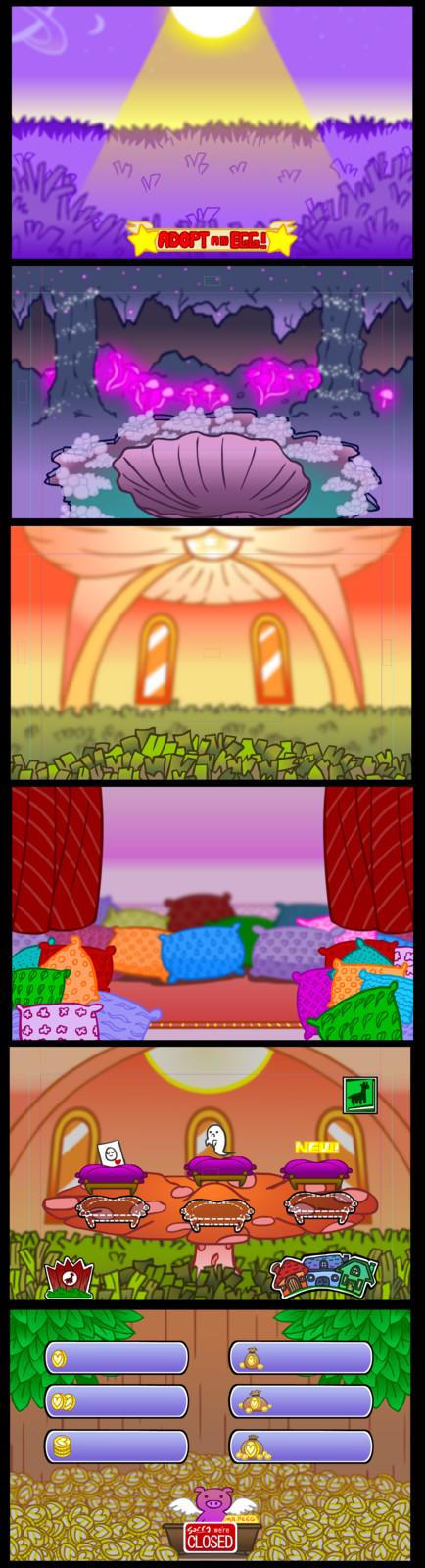 Initial backgrounds for the game. I didn't have a solid theme or palette to tie them all together and feel that I could have done better. Great try though!