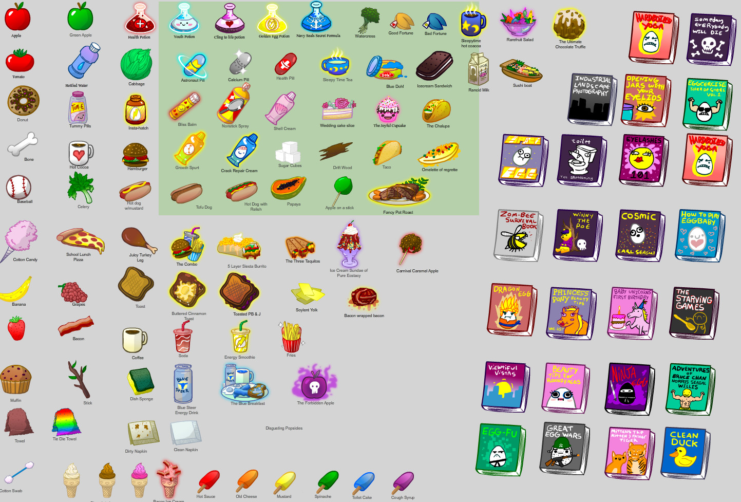 A bunch of different items were needed to interact with your egg! Here's the first pack of items.