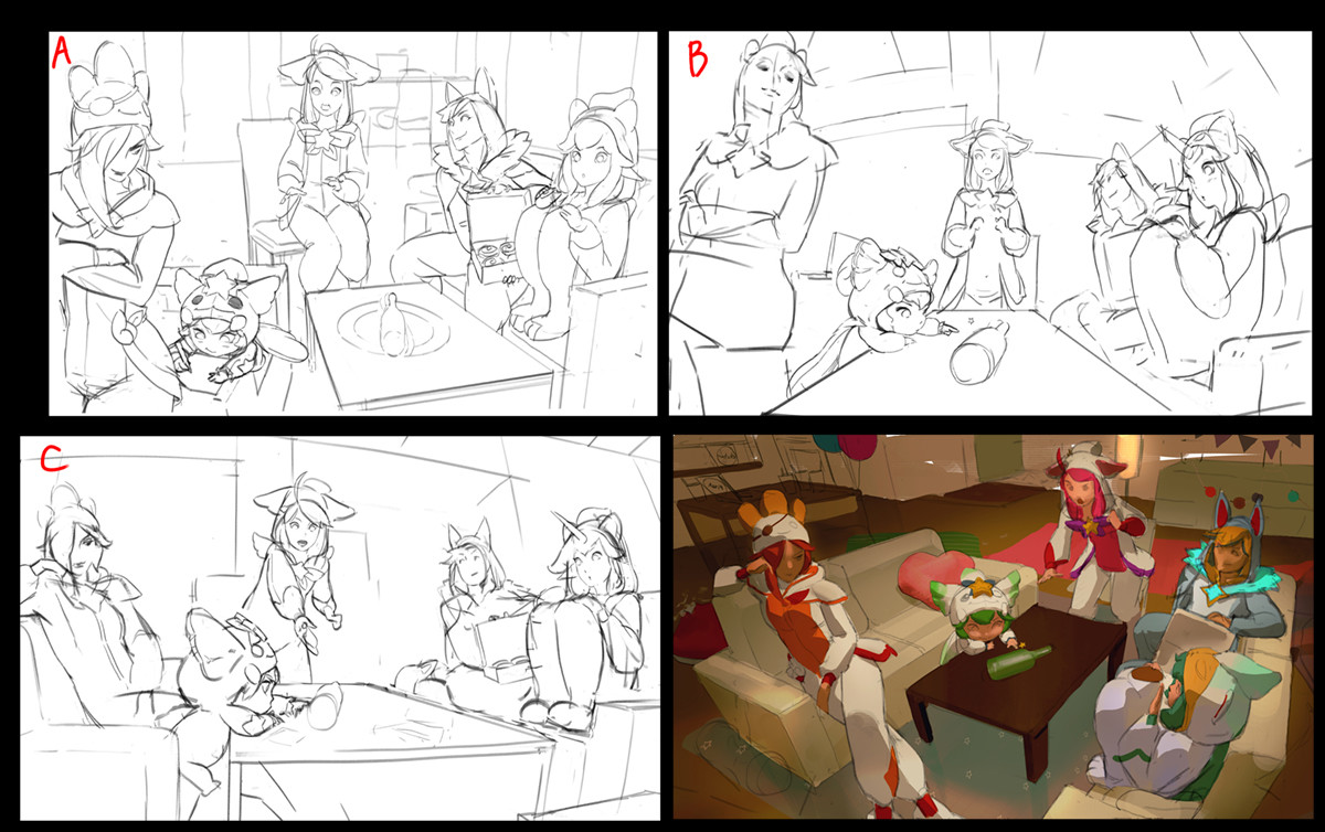 These are thumbnail sketches. I worked on their idea of  'spin the bottle game' but it was abandoned.