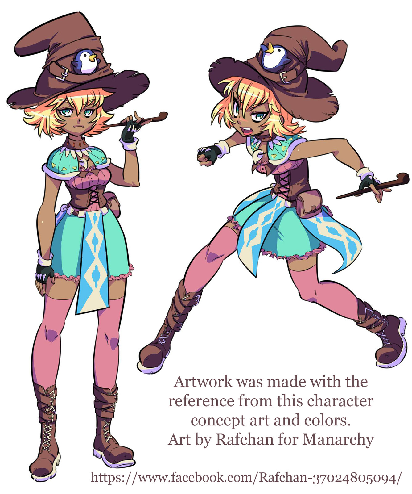 Artwork was made with the reference from this character concept art and colors. 