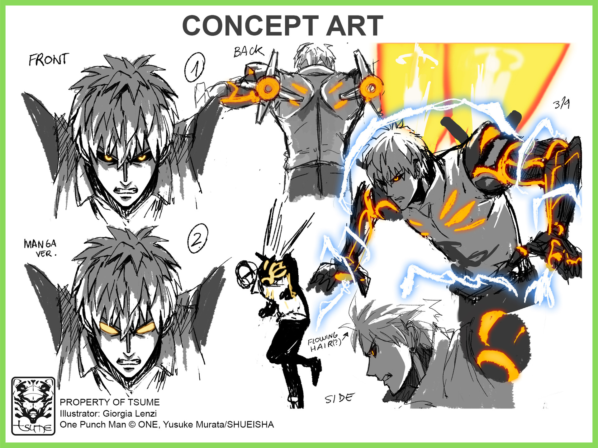 Artstation One Punch Man Genos Hqs Concept Art Giorgia Lenzi