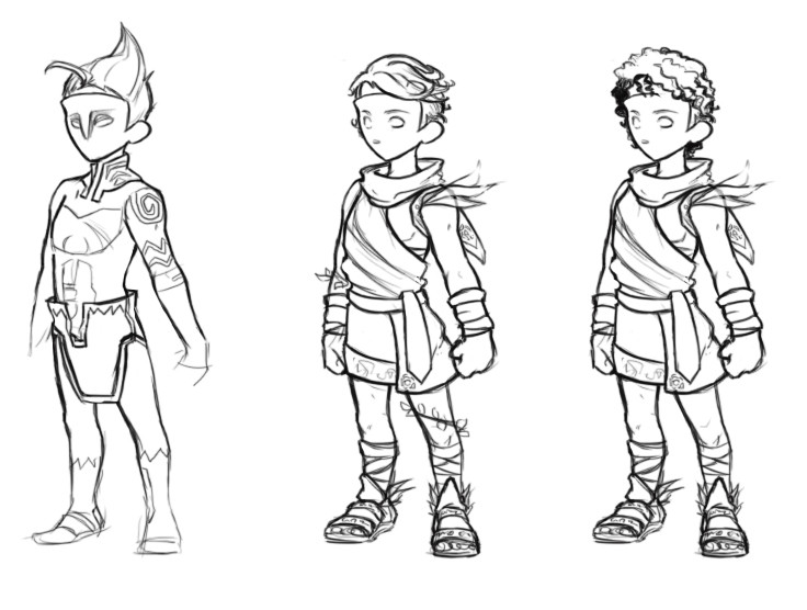 Sketch research for the look of the character