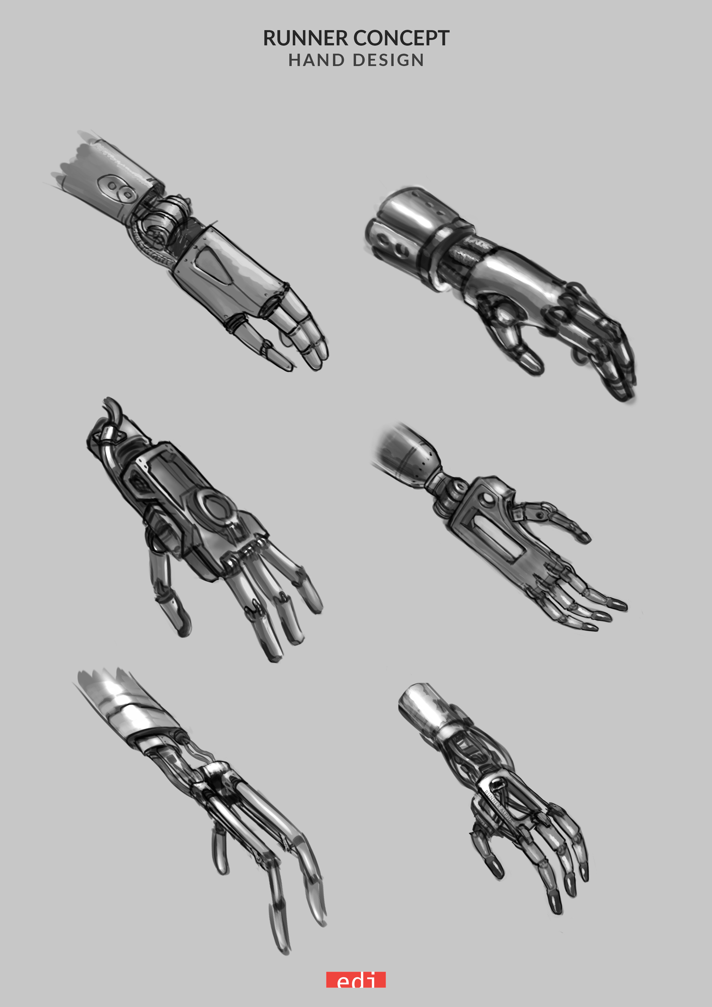 The hand needed to be a lightweight, purely functional element. These concepts explored various styles before finally settling on a combination of these models.
