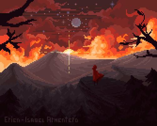 Pixel illustration #13 - sunset version