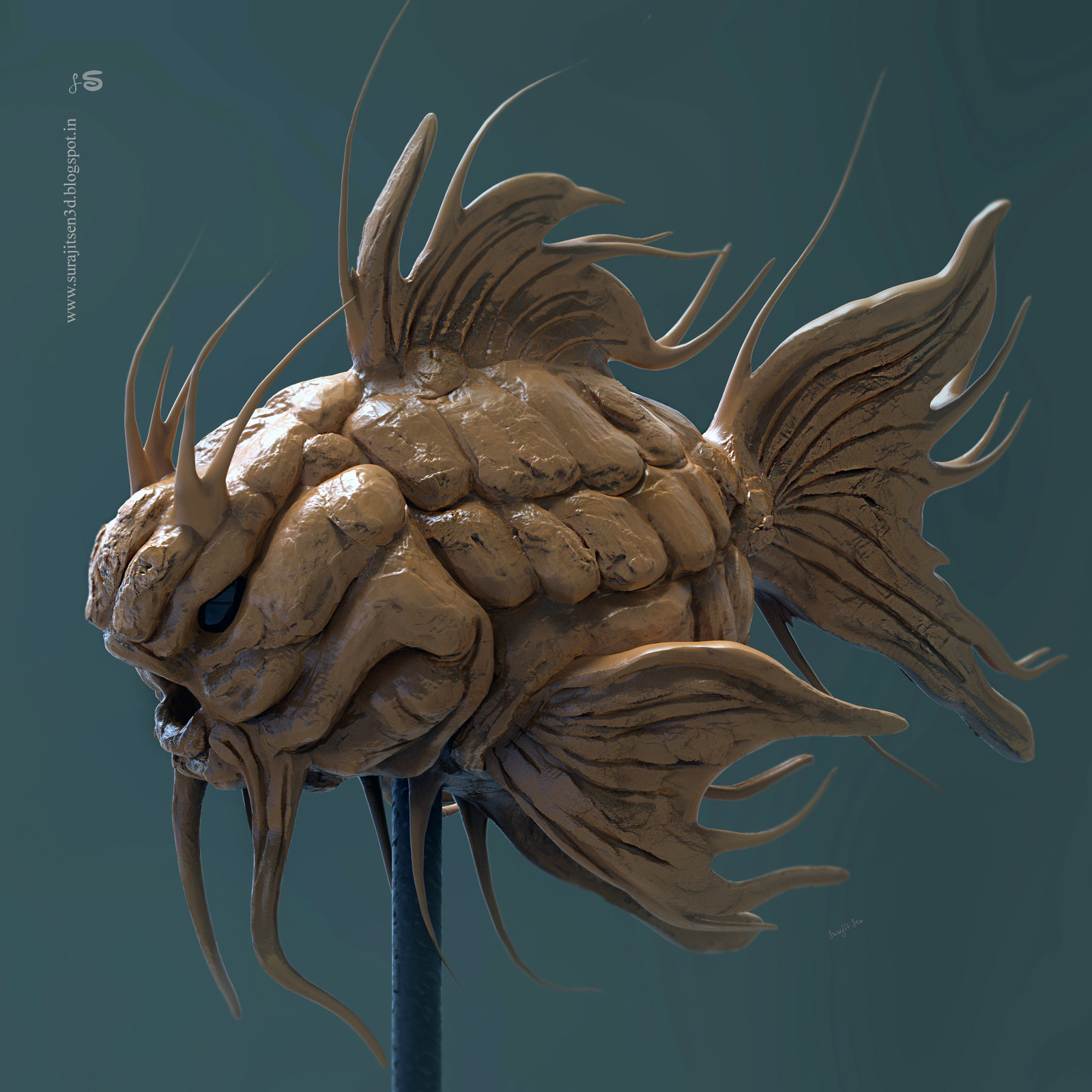 """Today I tried to make a form of my thoughts. ...""""Dracon"""". Wish to share my speed Digital sculpt study. ..."""