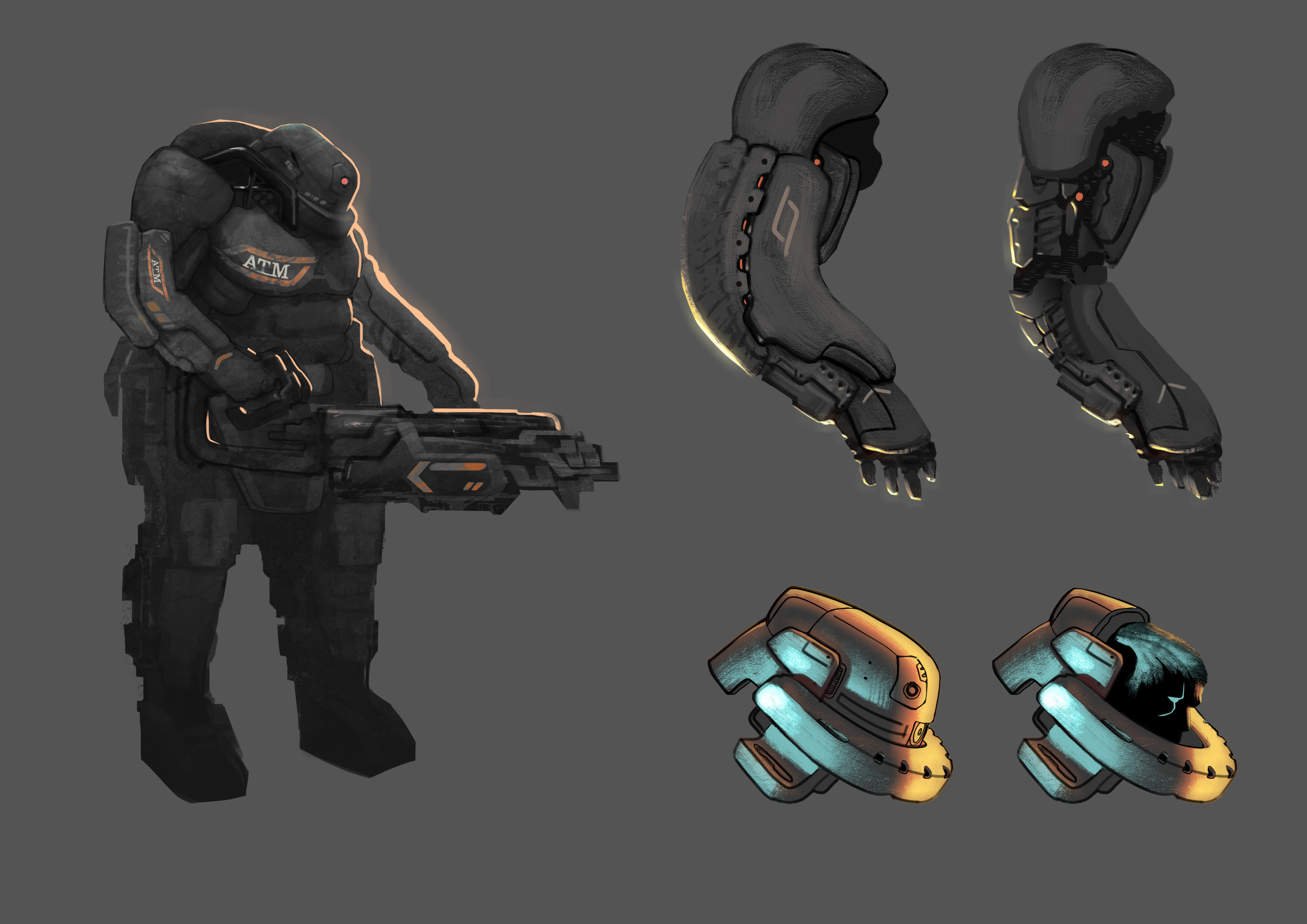 Callouts of the layers of protection on the arm and the helmet.