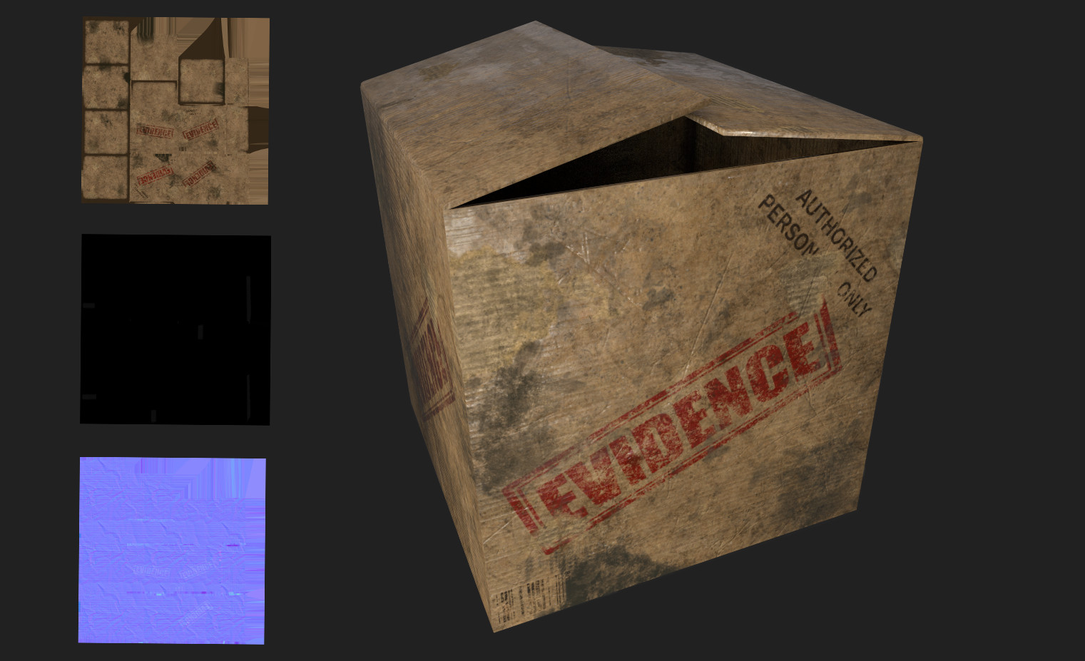 Tampered evidence box textured in Substance Painter with Unity texture maps.