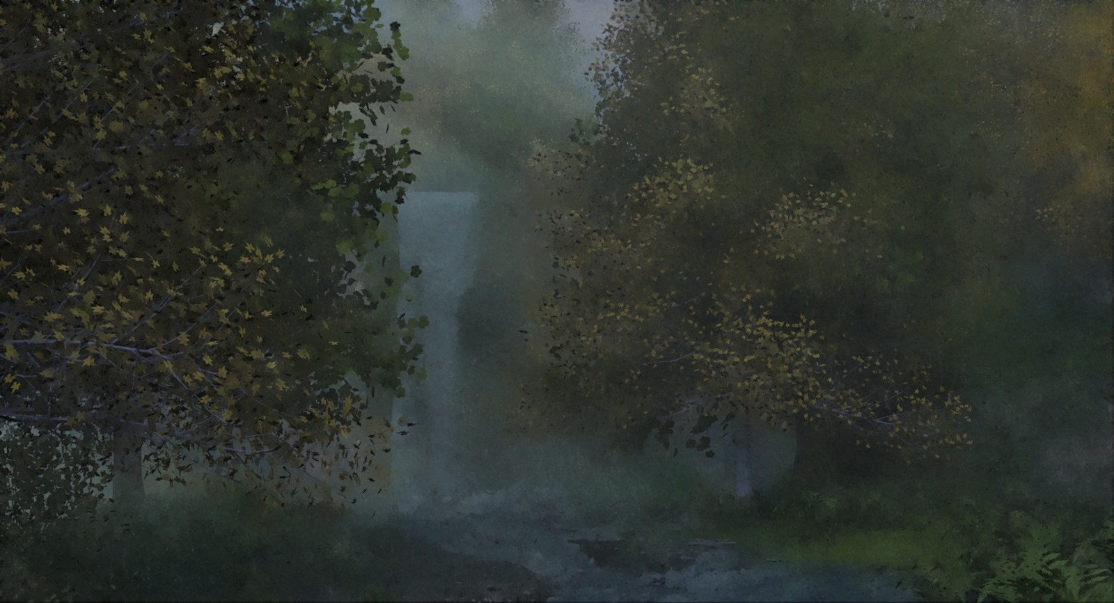 Waterfall in a forest (watercolour version)