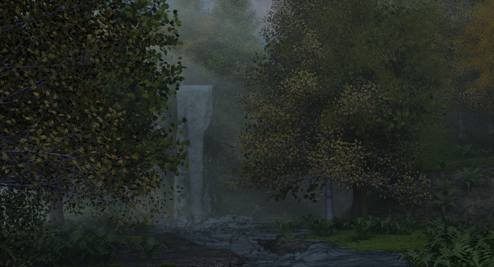 Waterfall in a forest (raw render)