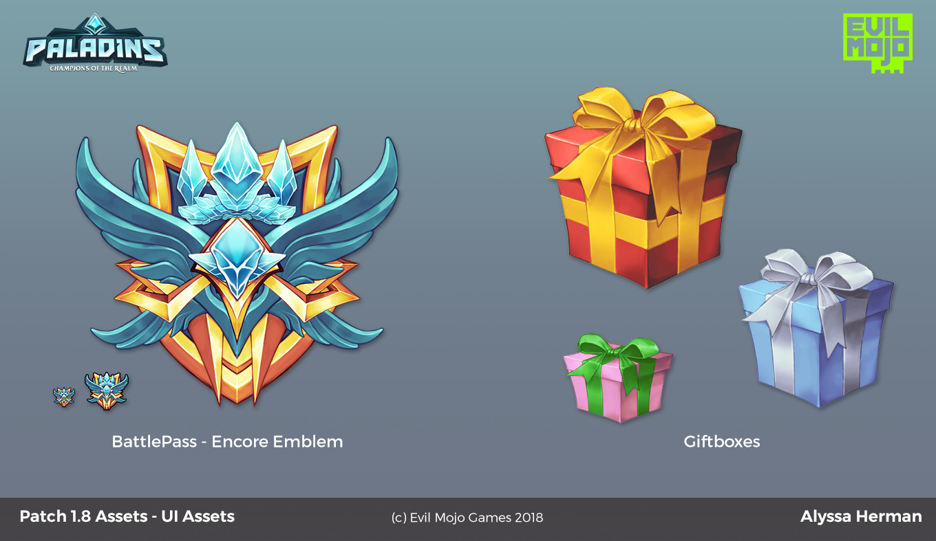Encore emblems for Battlepass 3 + new assets for the gifting feature!