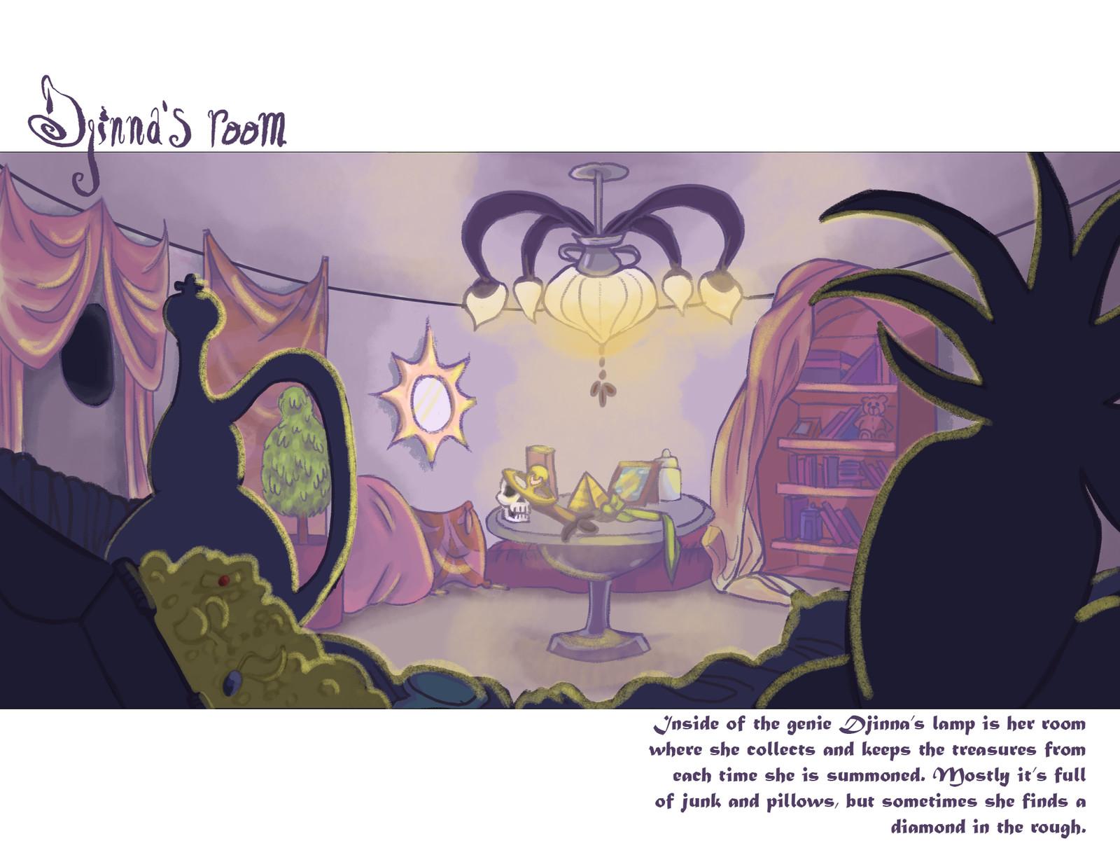 Inside Djinna's, a genie, lamp is her room.