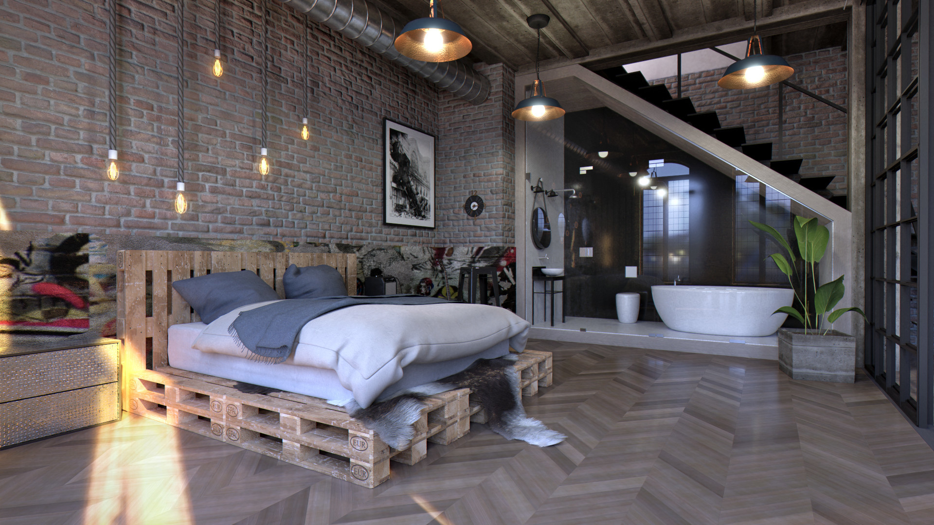 a rock musician's loft bedroom
